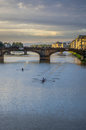 The arno by dusk a view of at Stock Photo