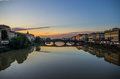 The arno at dusk a view of Royalty Free Stock Photo