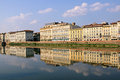 Arno reflection old architecture in river in florence Royalty Free Stock Photos