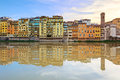 Arno river and buildings architecture landmark on sunset. Floren Royalty Free Stock Images