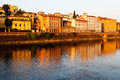 Arno River Embankment after Sunrise in Florence Stock Photos