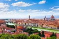 Arno river and florence panorama with famous bridge towers cathedral Royalty Free Stock Photos