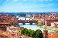 Arno river and Ponte Vecchio Royalty Free Stock Photo