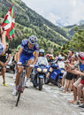 Arnold jeannesson climbing alpe d huez france july the french cyclist from fdj fr team the difficult road to during Stock Photo