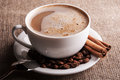 Aroma cappuccino on white dish background Stock Images