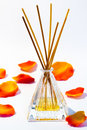 Aroma diffuser scented on white background with petals Stock Images
