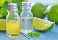 Aroma oil in bottle on a table Stock Image