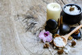 Aroma spa set on wooden table Royalty Free Stock Images