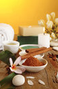 Aroma spa on wooden background Royalty Free Stock Photography