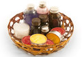 Aromas set of aromatic oils and candles Stock Photography