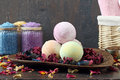 Aromatherapy assorted bath bombs and bath salt Royalty Free Stock Photography