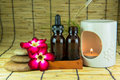 Aromatherapy essential oil and the burner set of Stock Images