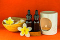 Aromatherapy essential oil and the burner set of Royalty Free Stock Photos