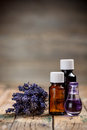 Aromatherapy oil and lavender flower Royalty Free Stock Image
