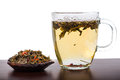Aromatic antioxidant green tea on wooden board background Royalty Free Stock Photo
