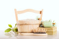 Aromatic bath salt in wooden bucket and handmade soap Royalty Free Stock Image