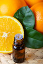 aromatic essence and some fresh oranges Royalty Free Stock Photo