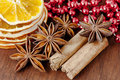 Aromatic spices as christmas decoration Royalty Free Stock Image