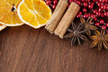 Aromatic spices as christmas decoration Royalty Free Stock Photography
