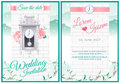 Around the clock wedding card invitation with green nature and v