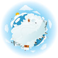 Around the frozen planet earth vector illustration of miniature Royalty Free Stock Photo