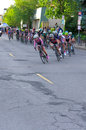 Around turn at womens uptown criterium june women pro cyclists corner of stage four race north star grand prix in minneapolis Royalty Free Stock Photography