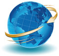 Around the world an arrow turning Royalty Free Stock Photo