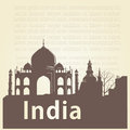 Around the world a brown silhouette of taj mahal and some text Stock Photography