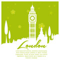 Around the world a green background with white silhouettes of london city Stock Photography