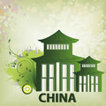 Around the world a green chinese silhouette of a building in a beautiful background Stock Images