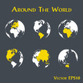 Around the world outline of world map and continent