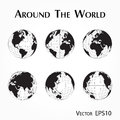 Around the world  outline of world map with latitude and longitude Royalty Free Stock Photo