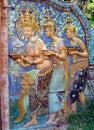 Arquitetura pintada Khmer, Phnom Penh Imagem de Stock