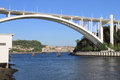 Arrabida bridge porto in a beautiful summer afternoon with blue sky seeing the river douro and passenger boats passing Royalty Free Stock Image