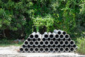 Arrange of cement pipe in outdoor stock warehouse Royalty Free Stock Image