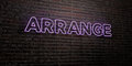 ARRANGE -Realistic Neon Sign on Brick Wall background - 3D rendered royalty free stock image