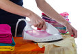 Arranged clothes women ironing and it Royalty Free Stock Photo