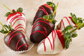 Arrangement of chocolate covered strawberries Royalty Free Stock Photo