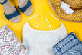 Arrangement of female summer clothes, beach style