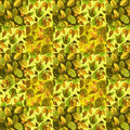 Arrangement of quilt on battic colorful print with leaves for project Royalty Free Stock Image