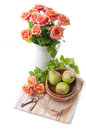 Arrangement with roses and pears Royalty Free Stock Image