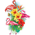 Arrangement from tropical flowers and flamingoes pink Stock Photography