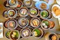 The Arrangement of various dim sum in bamboo steamer Royalty Free Stock Photo