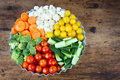 Arrangement of vegetables in a round metal tray Royalty Free Stock Photos
