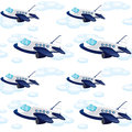 Array of aeroplane illustration an on on white Stock Photo
