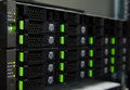 Array disk storage in data center slot at Stock Image