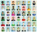 An array of portraits forty two in the form illustrations characters in different colored clothes different ethnicity some Stock Photos
