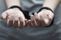 Arrest human hands in handcuffs close up horizontal view Stock Photo