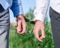 Arrest of an offender handcuffs Stock Photos