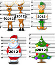 Arrested Santa, Reindeer, Elves vector Stock Image